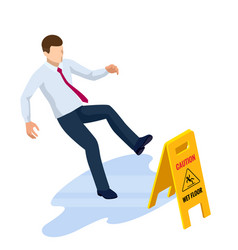 isometric caution wet floor sign isolated on white vector image