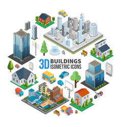 isometric city landscape round concept vector image