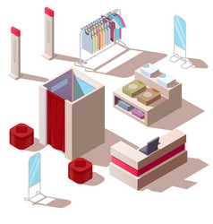 isometric fashion store interior vector image