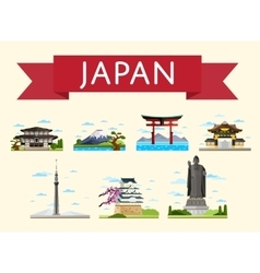 Japan travel concept with famous attractions vector