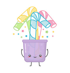 kawaii colorful paper or plastic straws in glass vector image