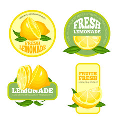 lemonade badges lemon juice or fruit syrup vector image