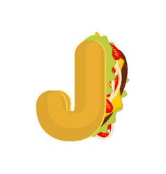 Letter j tacos mexican fast food font taco vector