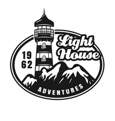 Lighthouse and mountains vintage emblem vector
