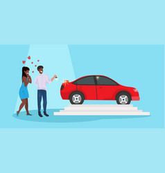 Man giving woman keys to new car happy valentines vector
