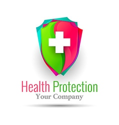 medical logo health protection shield with cross vector image