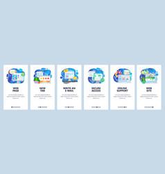Mobile app onboarding screens computer technology vector