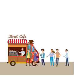 mobile food van coffe food truck barista vector image