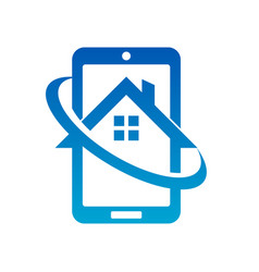 Mobile phone real estate house icon vector