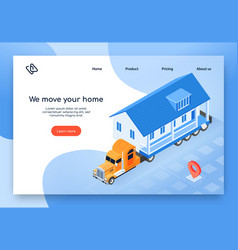Modular house delivery isometric web banner vector
