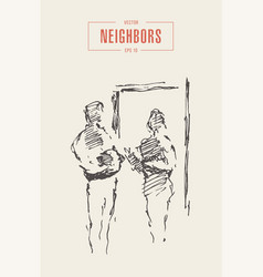 neighbors chatting landing hand draw sketch vector image