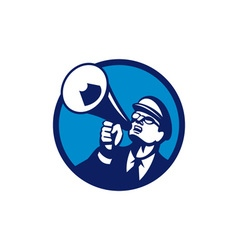 Nerd Shouting Megaphone Circle Retro vector