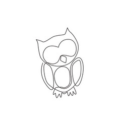 one continuous line drawing cute owl bird for vector image