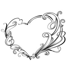 ornate heart shape frame symbol of love vector image