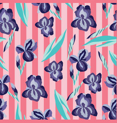 pattern with flowers irises on striped vector image