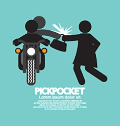Pickpocket On Motorcycle With The Victim vector