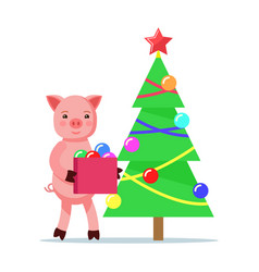 piggy dressing up christmas tree decorations vector image
