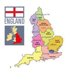 political map of england with regions vector image
