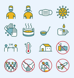 Prevention covid-19 line icons set vector