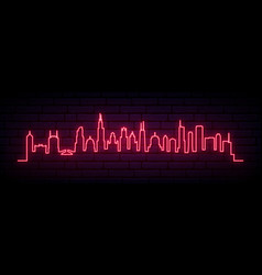 red neon skyline chicago city bright chicago vector image