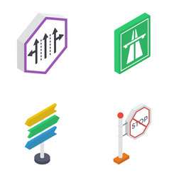 road symbols isometric pack vector image
