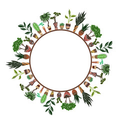 round frame of home flowers in pots with vector image