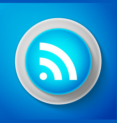 rss icon isolated on blue background radio signal vector image