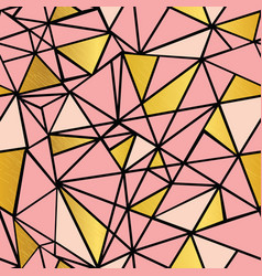 Salmon pink and gold foil geometric mosaic vector