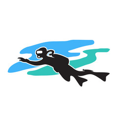 scuba diving stylized drawing a swimming diver vector image