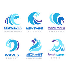 Sea wave logo ocean storm tide waves wavy river vector