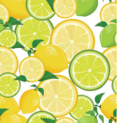 seamless background with lemon and lime vector image