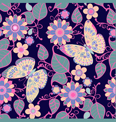 Seamless pattern with flowers floral elements and vector