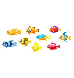 set cartoon funny fish characters colorful vector image