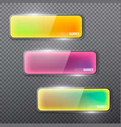 set of colorful glass banners for design dark vector image