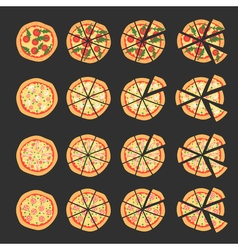 Set with different varieties of pizza Cut slices vector image