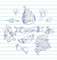 Sketch wedding design elements vector
