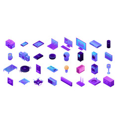 Smart home icons set isometric style vector