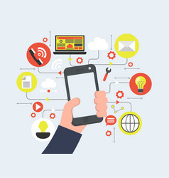 smart phone in hand media icons flat vector image