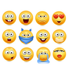 Smileys set smiley faces vector