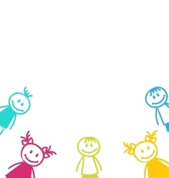 Smiling Girls and Boys Isolated on White vector