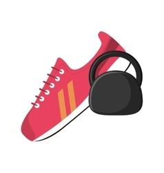 Sneaker and kettlebell icon vector