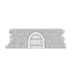 Stone wall and door vector