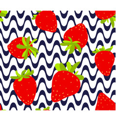 strawberries seamless pattern red strawberry with vector image