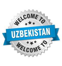 Uzbekistan 3d silver badge with blue ribbon vector