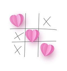 Valentines day concept tic tac toe game vector