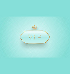 vip glass label with golden crown vector image