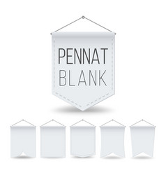 white pennant template set empty realistic vector image