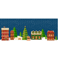 Winter christmas landscape with houses vector
