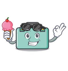 With ice cream suitcase character cartoon style vector