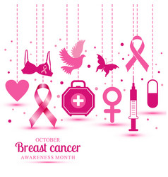 with icons of breast cancer for vector image